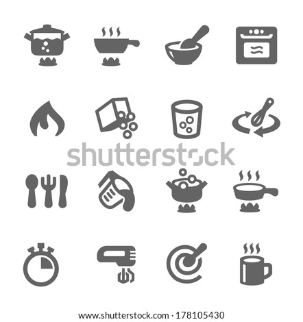 Simple set of cooking related vector icons for your design - stock vector
