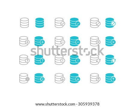 Simple set of database vector icons for web site and mobile app application - stock vector