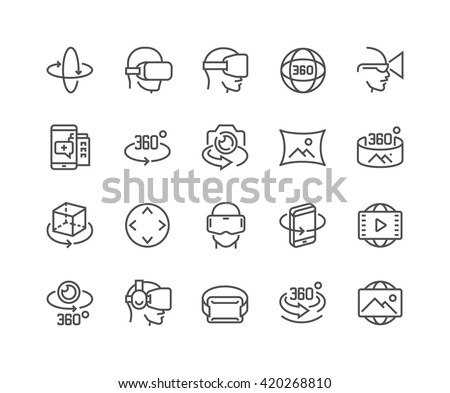 Simple Set of 360 Degree Image and Video Related Vector Line Icons.  Contains such Icons as 360 Degree View, Panorama, Virtual Reality Helmet, Rotation Arrows and more.  - stock vector
