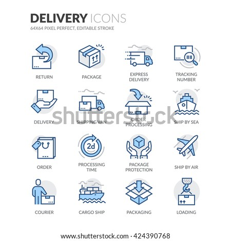 Simple Set of Delivery Related Color Vector Line Icons.  Contains such Icons as Loading, Express Delivery, Tracking Number Search, Cargo Ship and more.  Editable Stroke. 64x64 Pixel Perfect.  - stock vector