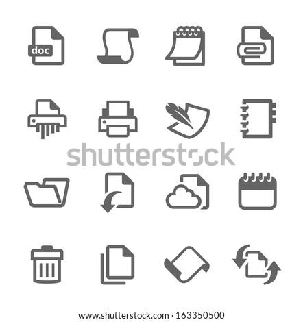 Simple set of documents related vector icons for your design. - stock vector