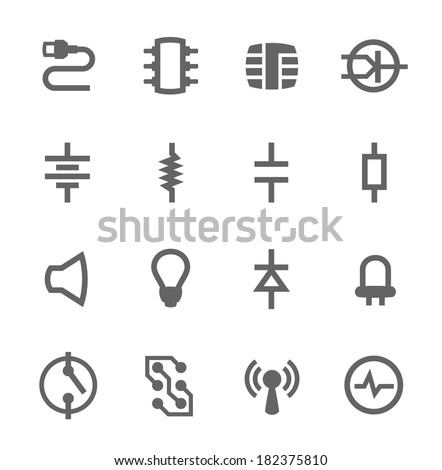 Simple set of electronic components related vector icons for your design - stock vector