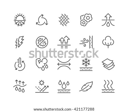 Simple Set of Fabric Feature Related Vector Line Icons.  Contains such Icons as Waterproof, Layered Structure, Breathable fiber, Ultraviolet Protection and more. Editable Stroke. 48x48 Pixel Perfect.  - stock vector