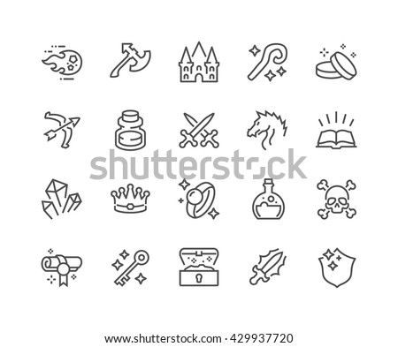 Simple Set of Fantasy Related Vector Line Icons.  Contains such Icons as Dragon, Magic Stuff, Fireball, Golden Coins and more.  Editable Stroke. 48x48 Pixel Perfect.  - stock vector