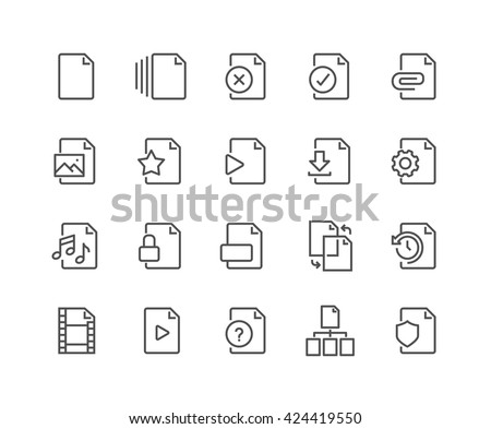 Simple Set of File Related Vector Line Icons.  Contains such Icons as Download, Video File, Sync, Settings and more.  Editable Stroke. 48x48 Pixel Perfect.  - stock vector