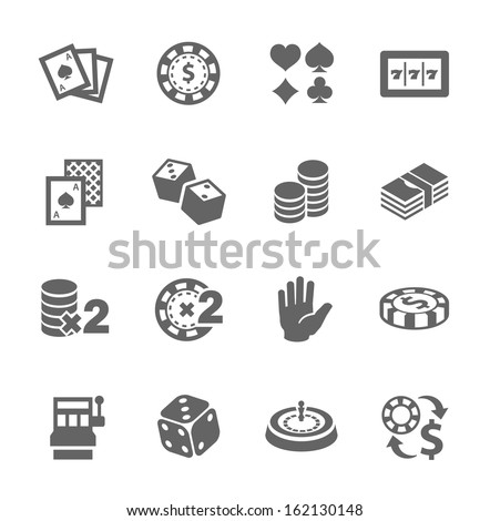 Simple set of gambling related vector icons for your design. - stock vector