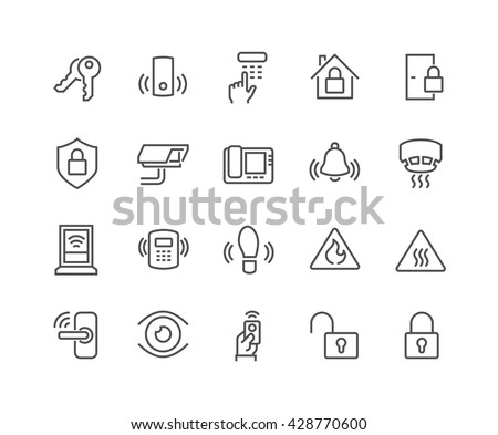Simple Set of Home Security Related Vector Line Icons.  Contains such Icons as Door Handle, Lock, Cam, CCTV, Remote and more.  Editable Stroke. 48x48 Pixel Perfect.  - stock vector
