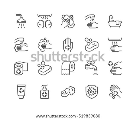 Simple Set of Hygiene Related Vector Line Icons.  Contains such Icons as Washing Hands, Shower, Antibacterial Soap and more. Editable Stroke. 48x48 Pixel Perfect.