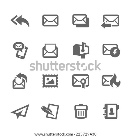 Simple Set of Mail Related Vector Icons for Your Design. - stock vector