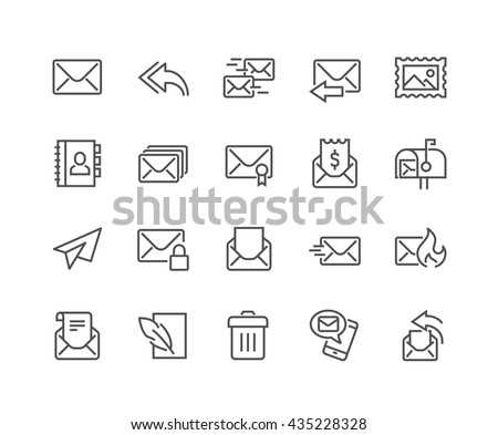 Simple Set of Mail Related Vector Line Icons.  Contains such Icons as Newsletter, Spam, Mail Box, Address Book and more.  Editable Stroke. 48x48 Pixel Perfect.  - stock vector
