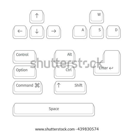 Simple set of Main Keyboard Keys. - stock vector
