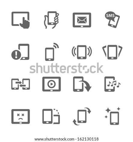 Simple set of mobile devices related vector icons for your design. - stock vector