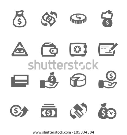 Simple set of money related vector icons for your design - stock vector