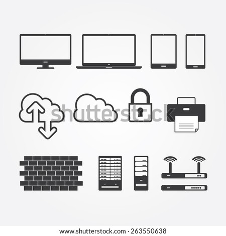 Simple Set of Network and Servers.  - stock vector
