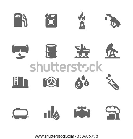 Simple Set of Oil Related Vector Icons. Contains such icons as rig, oil barrel, tube, flame and more. Modern vector pictogram collection. - stock vector