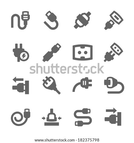 Simple set of plug in related vector icons for your design - stock vector