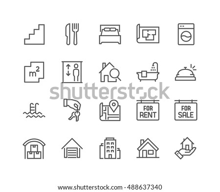 Simple Set of Real Estate Related Vector Line Icons.  Contains such Icons as Map, Plan, Bedrooms, Area, Bell and more. Editable Stroke. 48x48 Pixel Perfect.