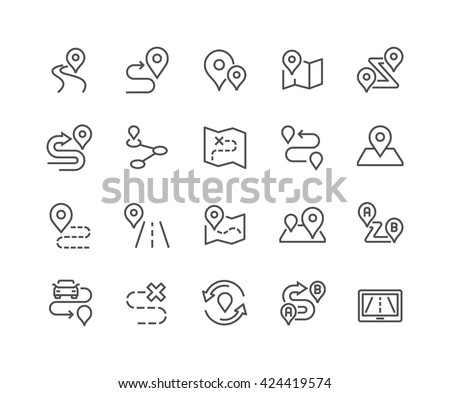 Simple Set of Route Related Vector Line Icons.  Contains such Icons as Map with a Pin, Route map, Navigator, Direction and more.  Editable Stroke. 48x48 Pixel Perfect.  - stock vector