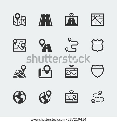 Simple set of route, road related vector icons - stock vector