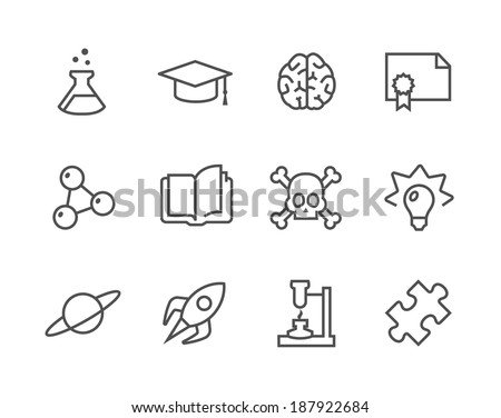 Simple set of Science related vector icons for your design. - stock vector