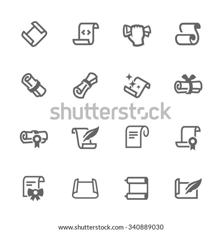 Simple Set of Scrolls and Papers Related Vector Icons. Contains such icons as scroll, gift card, diploma and more. Modern vector pictogram collection. - stock vector
