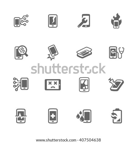 Simple Set of Smart Phone Repair Related Vector Icons. Contains Such Icons as Screen Crack, Protective Glass, Battery Replacement, Diagnose and More. - stock vector