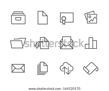 Simple set of stroked document related vector icons for your design. - stock vector