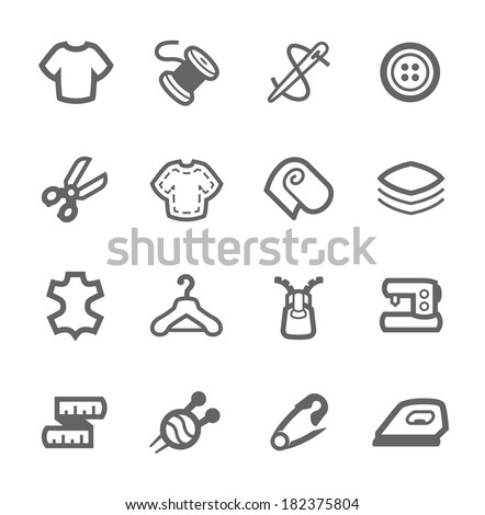 Simple set of tailoring related vector icons for your design - stock vector