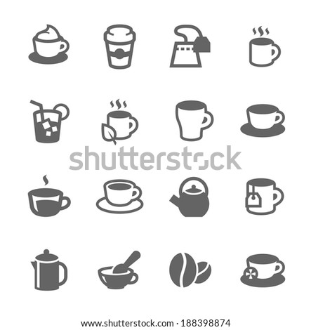 Simple set of tea and coffee related vector icons for your design - stock vector