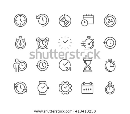 Simple Set of Time Related Vector Line Icons.  Contains such Icons as Timer, Speed, Alarm, Restore, Time Management, Calendar and more. Editable Stroke. 48x48 Pixel Perfect.