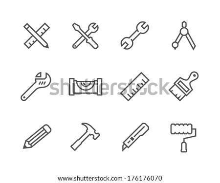 Simple set of tools related vector icons for your design - stock vector