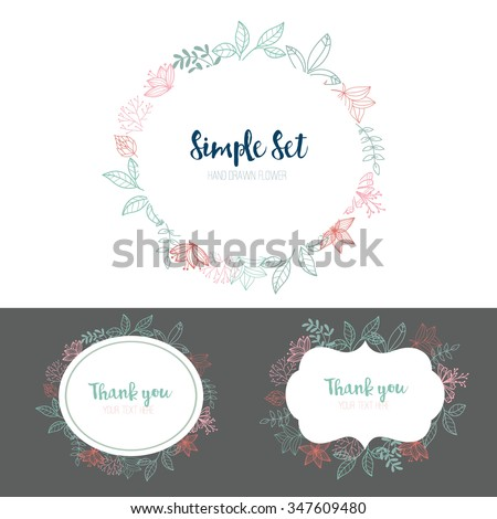 Simple set , Wedding graphic set, flowers, ribbon, floral vector element. - stock vector