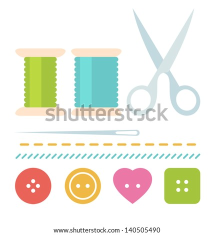 Simple sew set with buttons, scissors, needle and spool of thread in flat style - stock vector