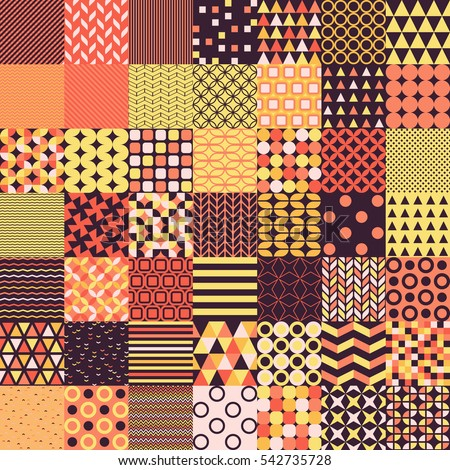 Simple shapes seamless vector patterns for your designs. Seamless geometrical patterns collection. All geometric patterns can be combined between themselves. Multicolored geometry shape pattern bundle