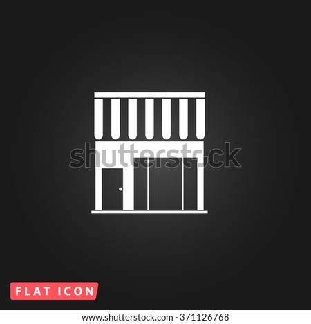 Simple shop. White flat simple vector icon on black background. Icon JPEG JPG. Icon Picture Image. Icon Graphic Art. Icon EPS AI. Icon Drawing Object. Icon Path UI - stock vector