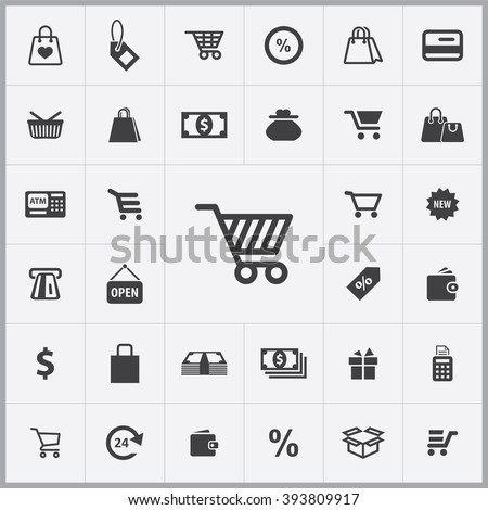 Simple shopping icons set. Universal shopping icon to use for web and mobile UI, set of basic UI shopping elements