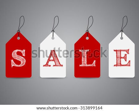 Simple shopping labels with sale text and shadows - stock vector