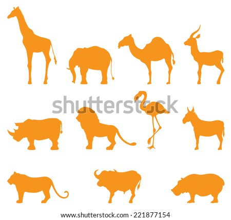 Simple silhouettes of some common wild animals. - stock vector