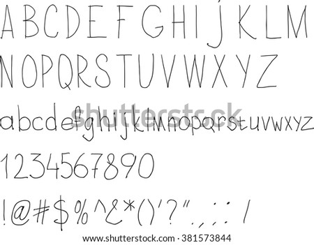 Simple sloppy handwriting. Alphabet for daily fill of papers - stock vector