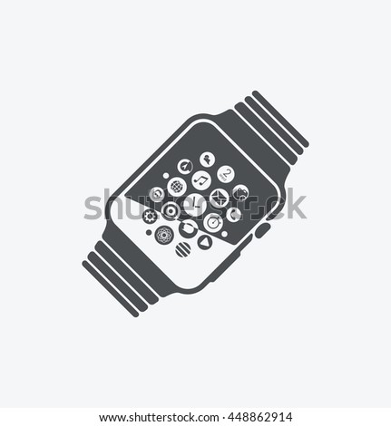 Simple smart watch icon on white background. Simple smart watch icon. eps8. - stock vector