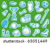 Simple sports icons in the form of stickers - stock vector