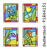 Simple spring flowers. Styled stained glass. Vector illustration. - stock vector