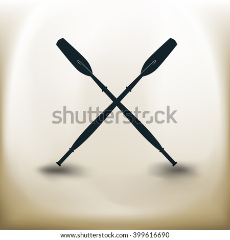 simple square symbol two paddles on beige background - stock vector