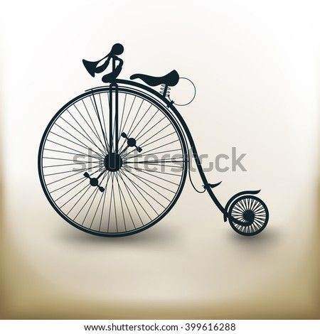 simple square symbol Vintage Bicycle on beige background