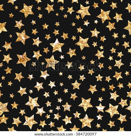 Simple star seamless pattern. Modern gold foil design.Gold stars on black background. Cute pattern for cover design, greeting card, packaging papers. Vector illustrations