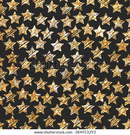 Simple star seamless pattern. Modern gold foil design. Hand Painted gold stars on black background. Cute pattern for cover design, greeting card, packaging papers. Vector illustrations