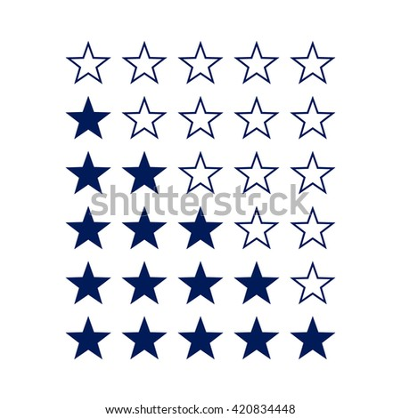 Simple Stars Rating. Dark Blue Shapes on White Background - stock vector