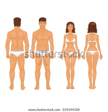 simple stylized illustration of a healthy body type of man and woman in retro colors - stock vector