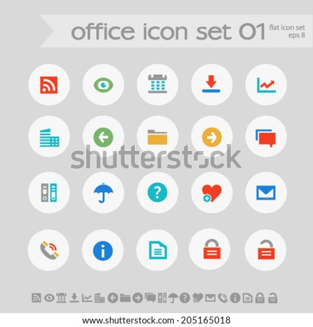 Simple subtle colored office icons on white circles, set 1 - stock vector