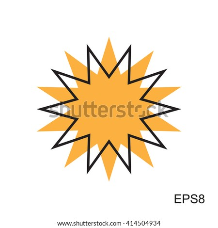Simple Sun icon. Vector illustration isolated on white. - stock vector